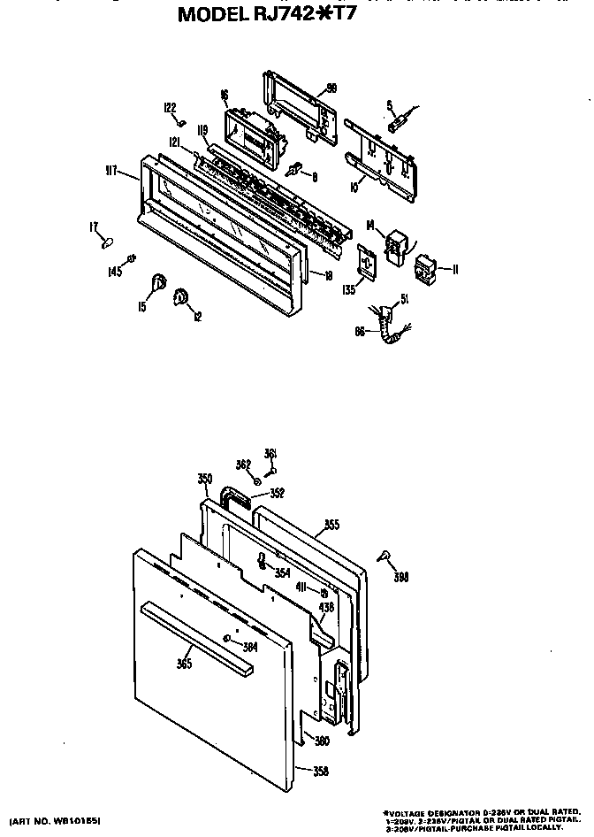 CONTROLS AND DOOR Diagram & Parts List for Model rj742t7