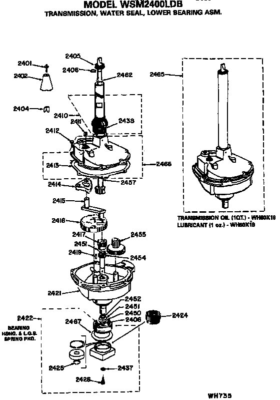 TRANSMISSION, WATER SEAL AND LOWER BEARING ASSEMBLY