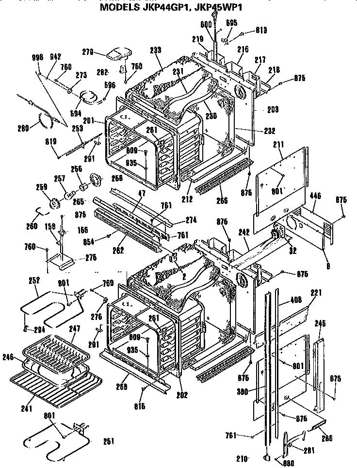 OVENS Diagram & Parts List for Model jkp44gp1 GE-Parts