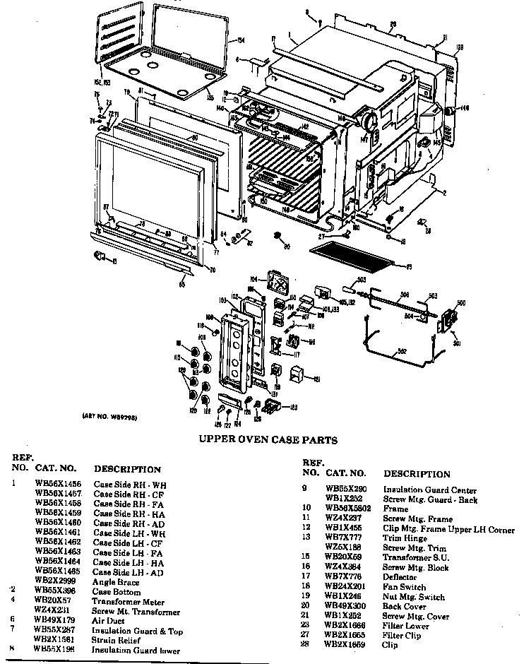 UPPER OVEN CASE PARTS Diagram & Parts List for Model