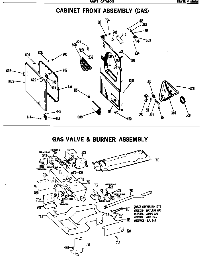 GAS & VALVE BURNER ASSEMBLY Diagram & Parts List for Model