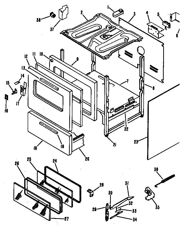 OVEN Diagram & Parts List for Model RB63601 Hotpoint-Parts