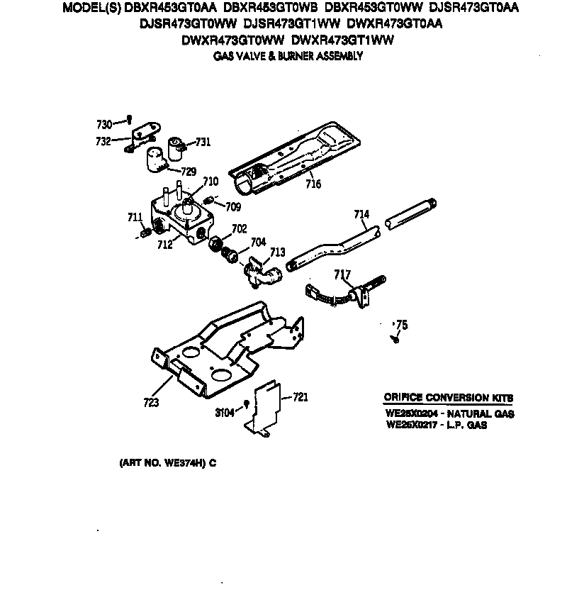 GAS VALVE & BURNER ASSEMBLY Diagram & Parts List for Model