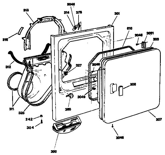 DOOR Diagram & Parts List for Model DDE8200SAMWW GE-Parts