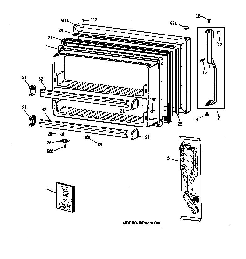 FREEZER DOOR Diagram & Parts List for Model tbx21cibrrww