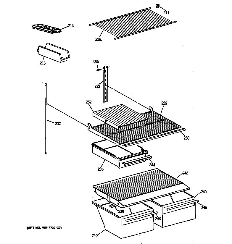 SHELF PARTS Diagram & Parts List for Model ctx18baxprwh