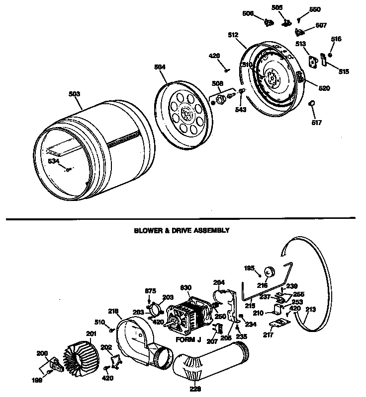 BLOWER & DRIVE ASSEMBLY Diagram & Parts List for Model
