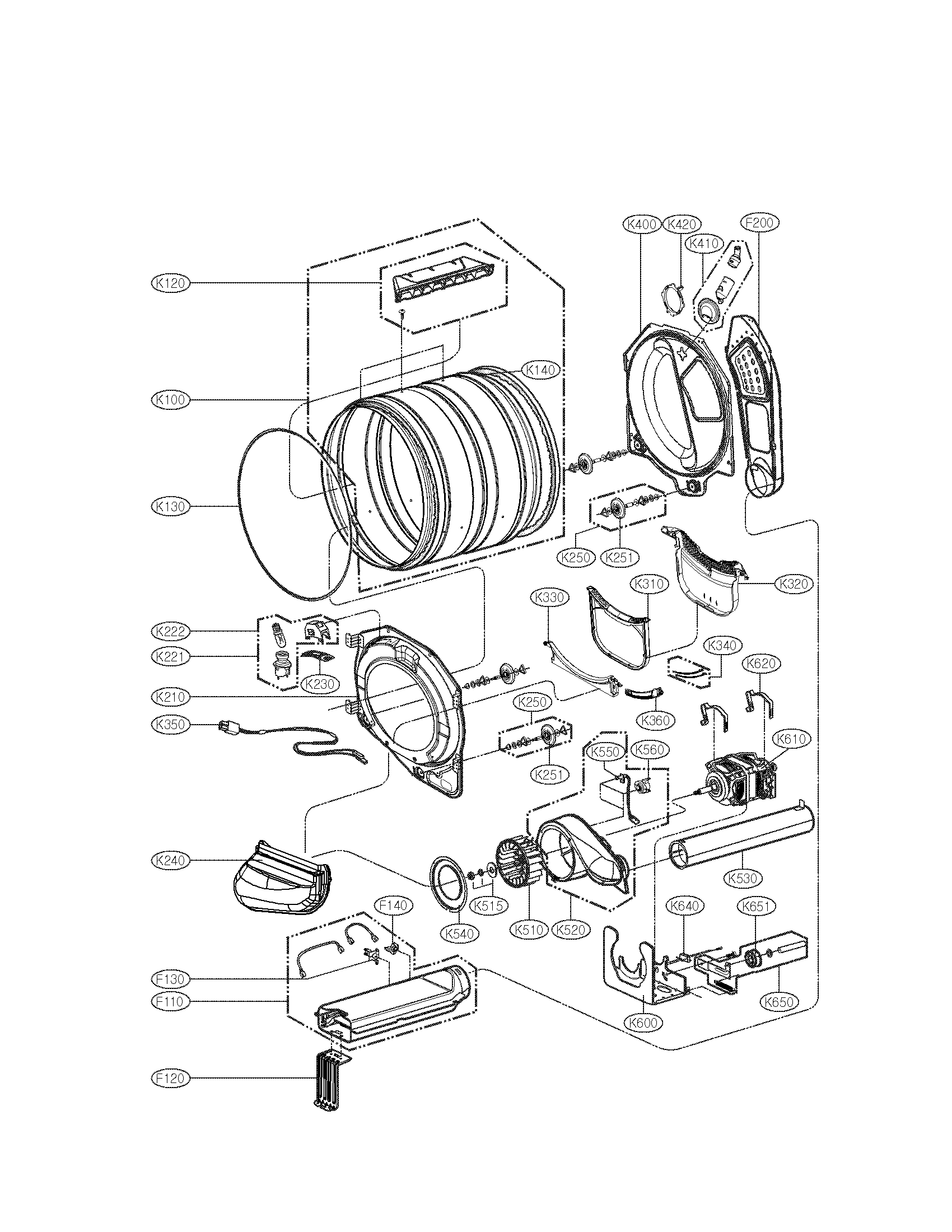 DRUM AND MOTOR ASSEMBLY Diagram & Parts List for Model