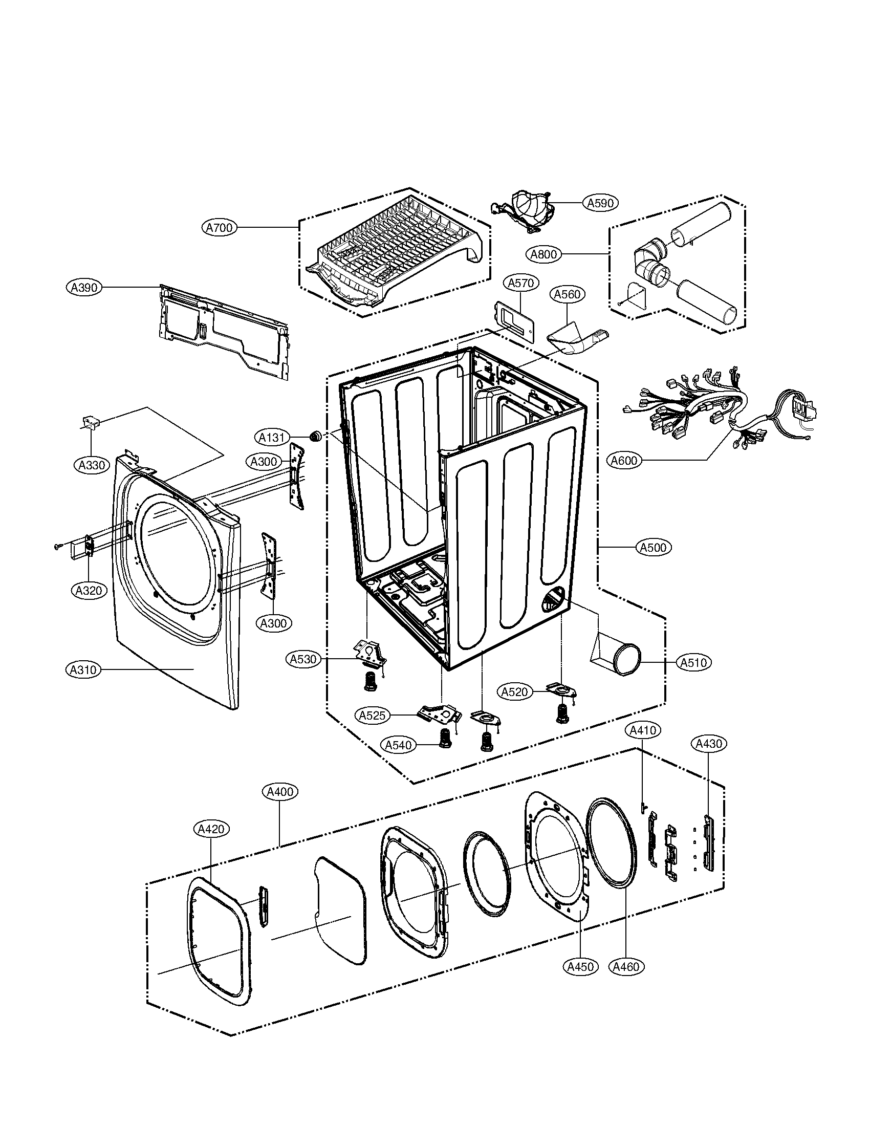 DRUM AND MOTOR PARTS Diagram & Parts List for Model