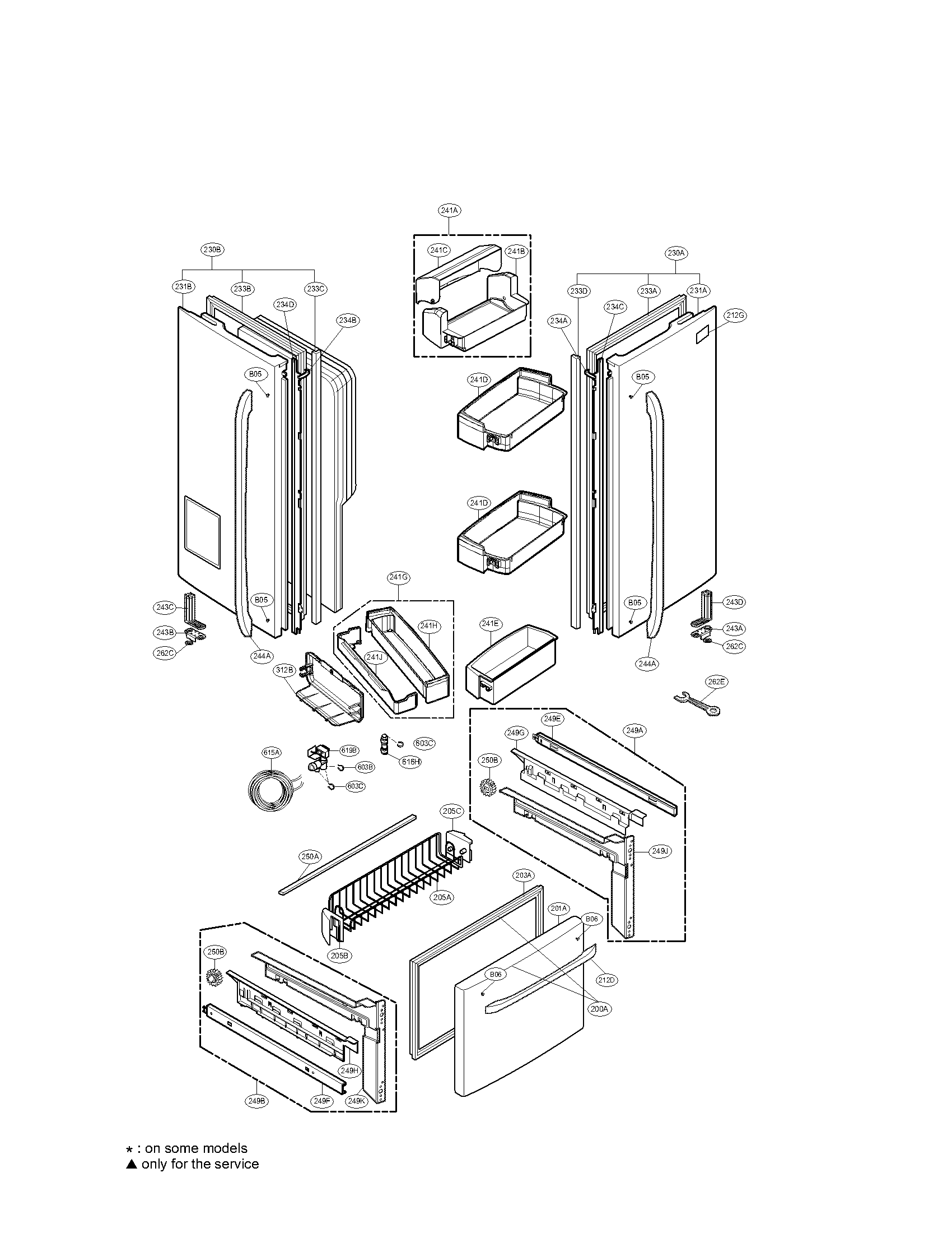 DOOR PARTS Diagram & Parts List for Model LFX25975SW LG
