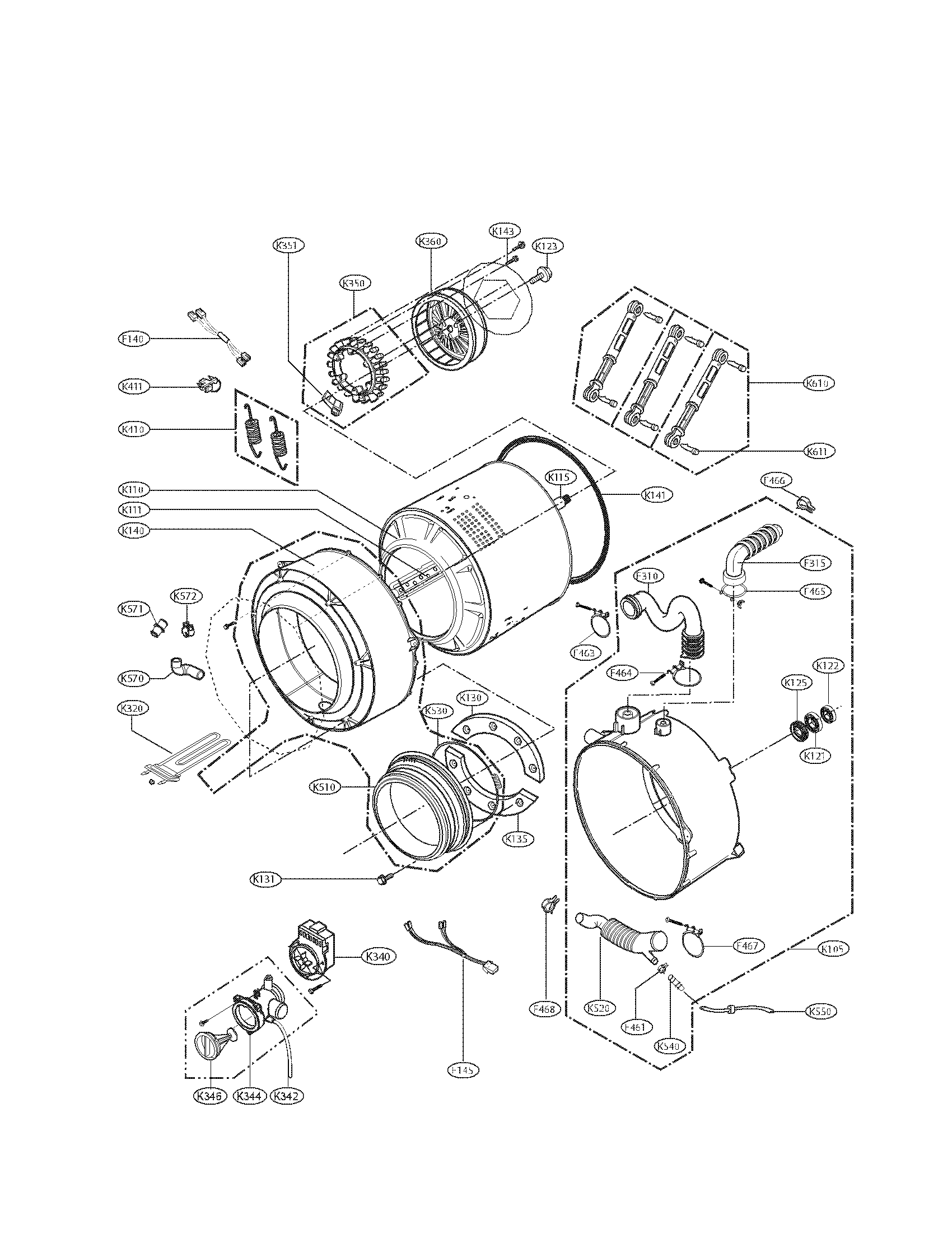 DRUM AND TUB PARTS Diagram & Parts List for Model