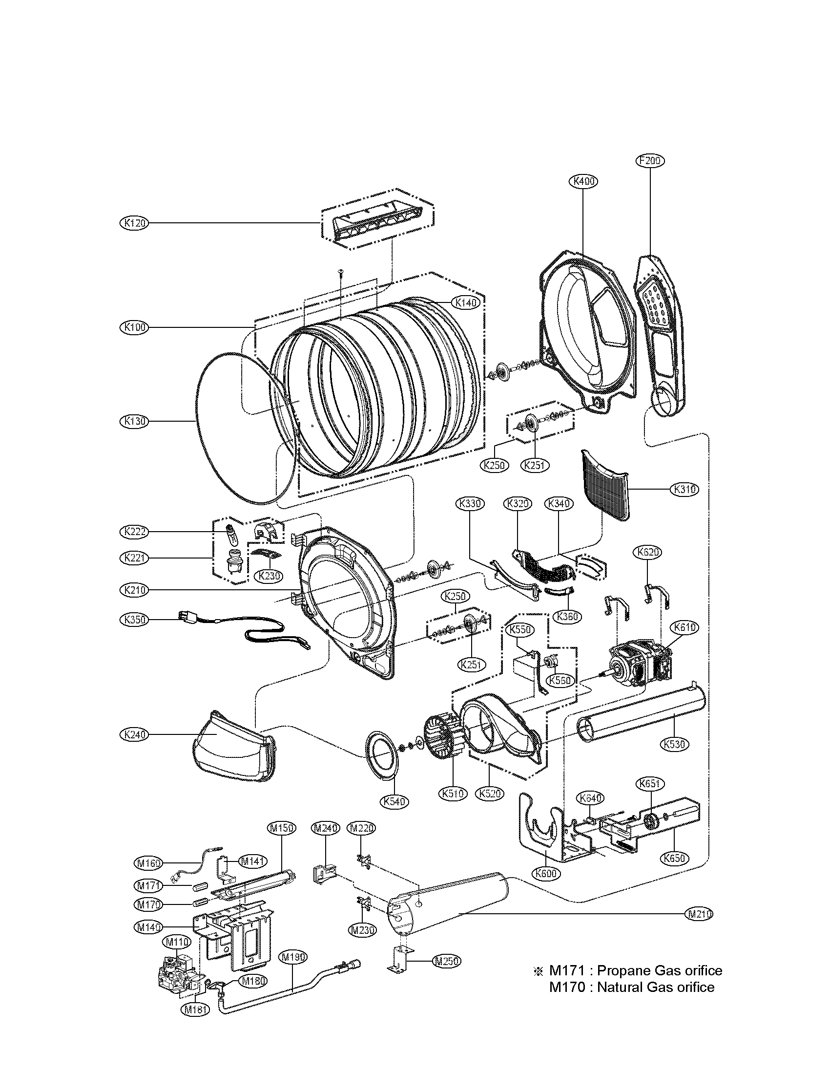 DRUM AND MOTOR PARTS GAS Diagram & Parts List for Model