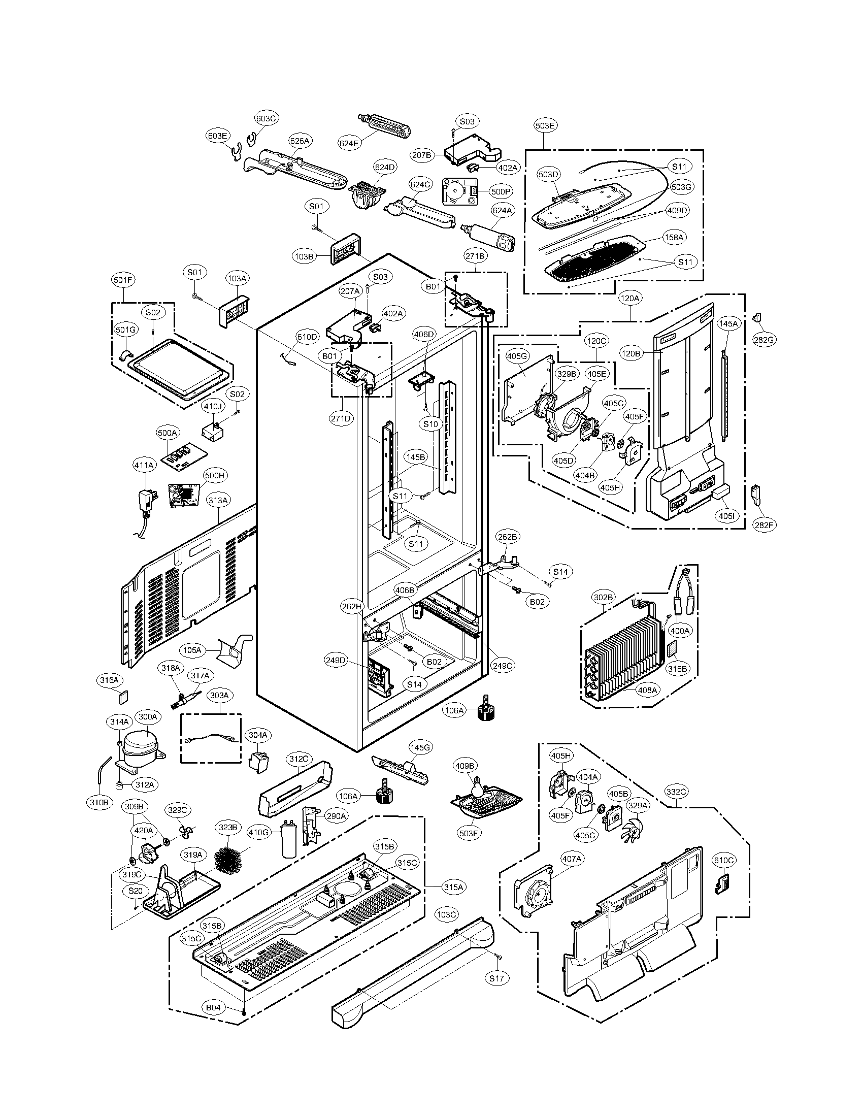 CASE PARTS Diagram & Parts List for Model 79571056010