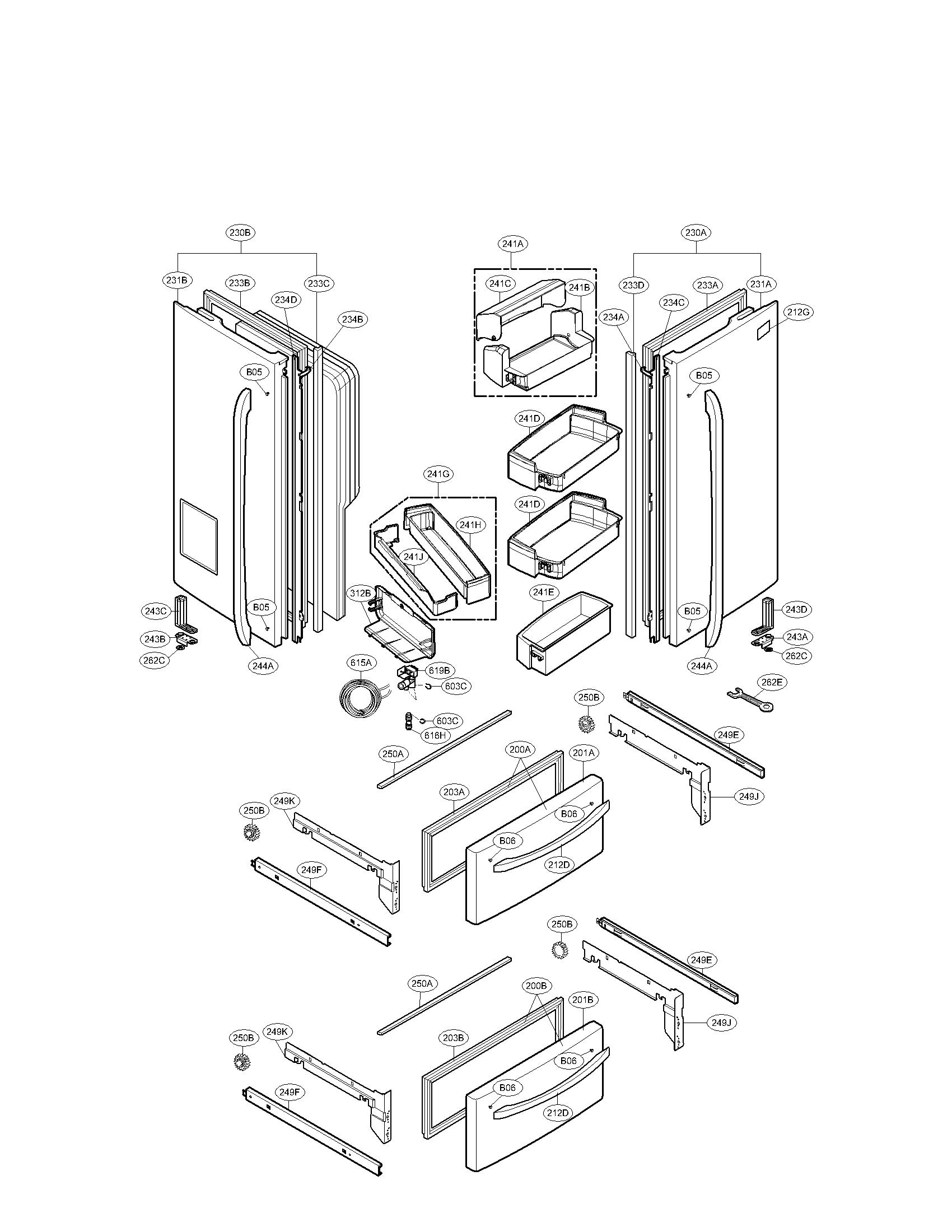 DOOR PARTS Diagram & Parts List for Model lmx21984st LG