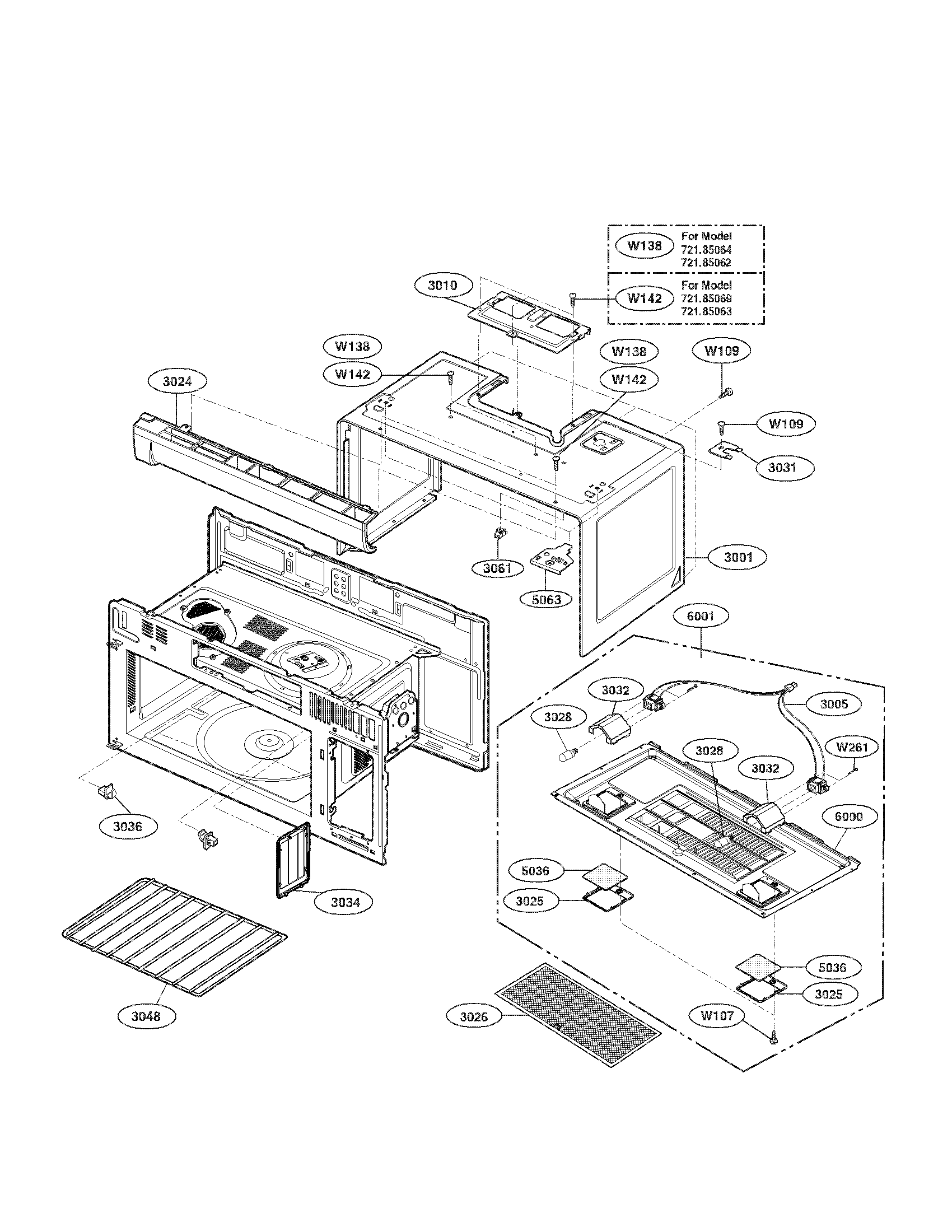 OVEN CAVITY PARTS ASSEMBLY Diagram & Parts List for Model