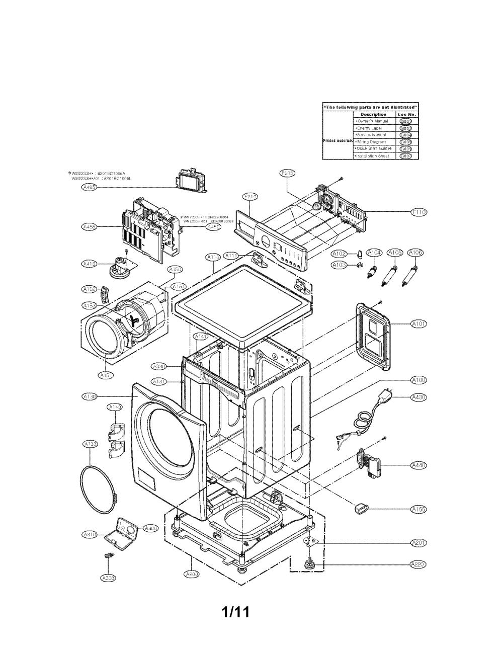 medium resolution of lg wm2101hw cabinet and control parts diagram