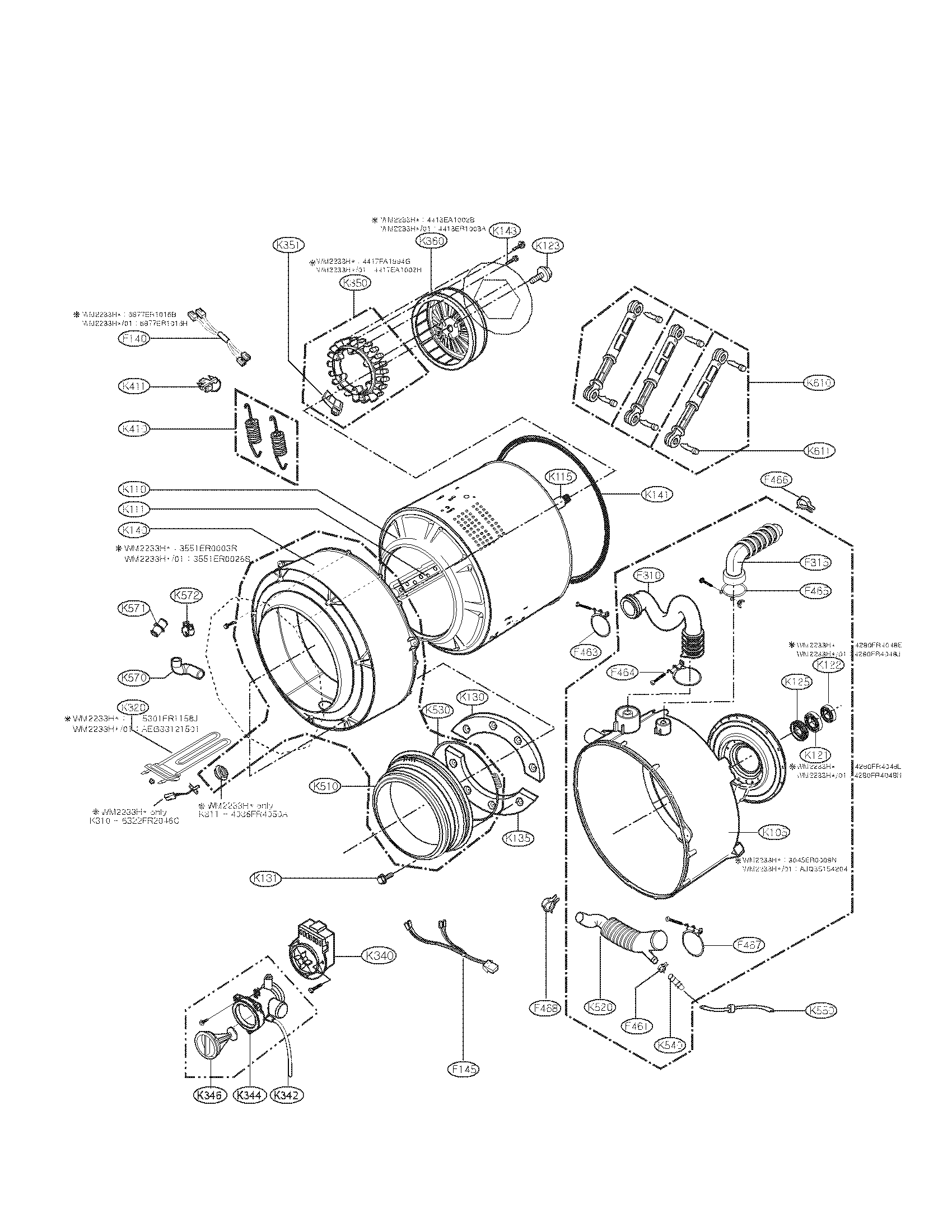 DRUM AND TUB PARTS Diagram & Parts List for Model WM2101HW