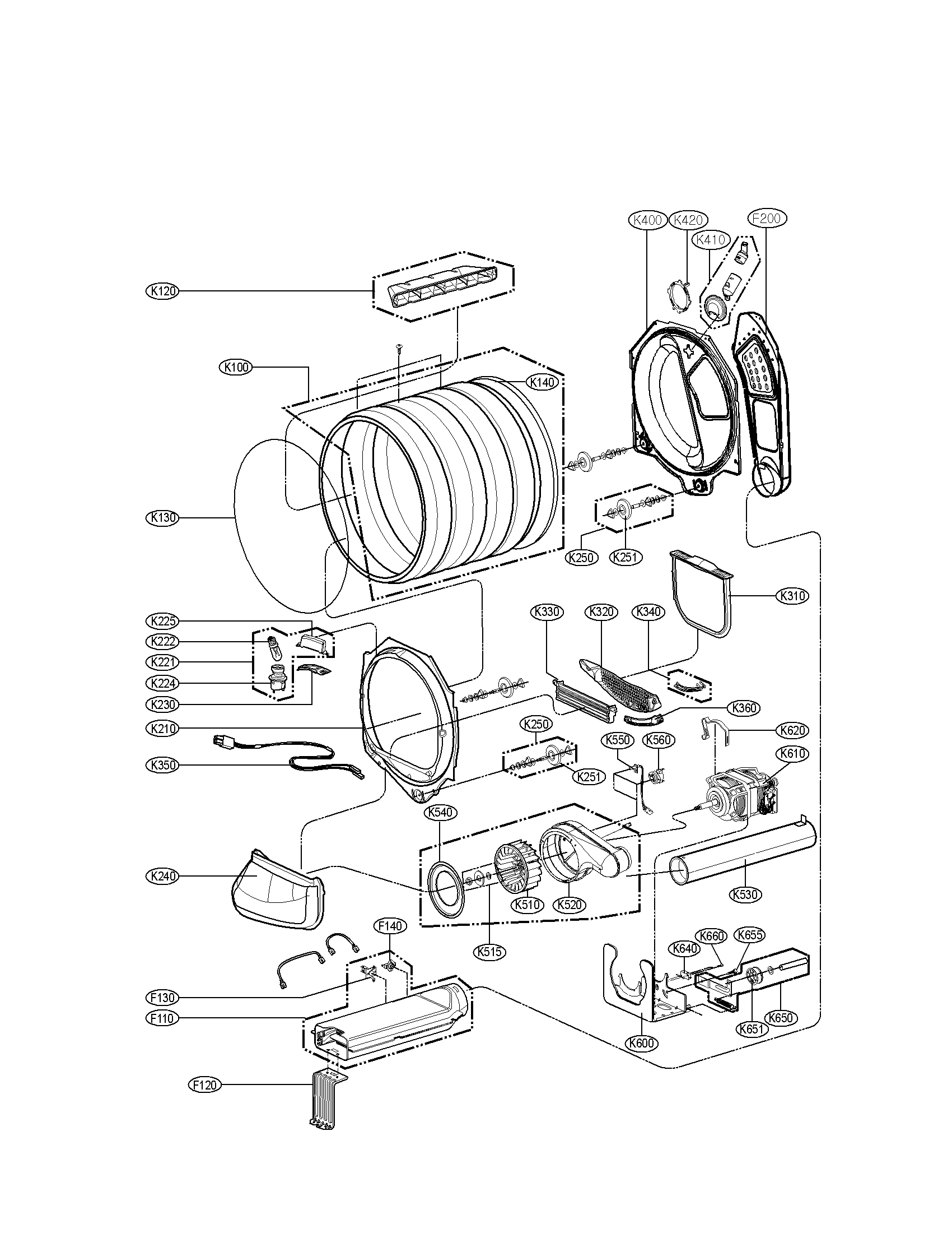 DRUM AND MOTOR ASSEMBLY PARTS Diagram & Parts List for
