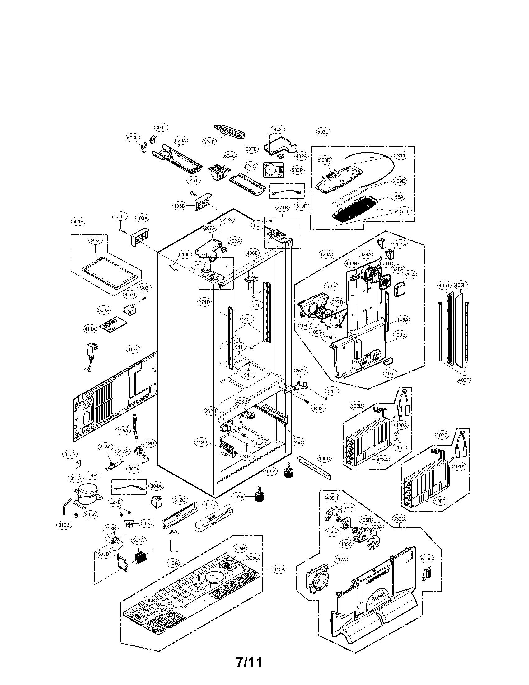 Lg Model Lfx31925st Bottom Mount Refrigerator Genuine Parts