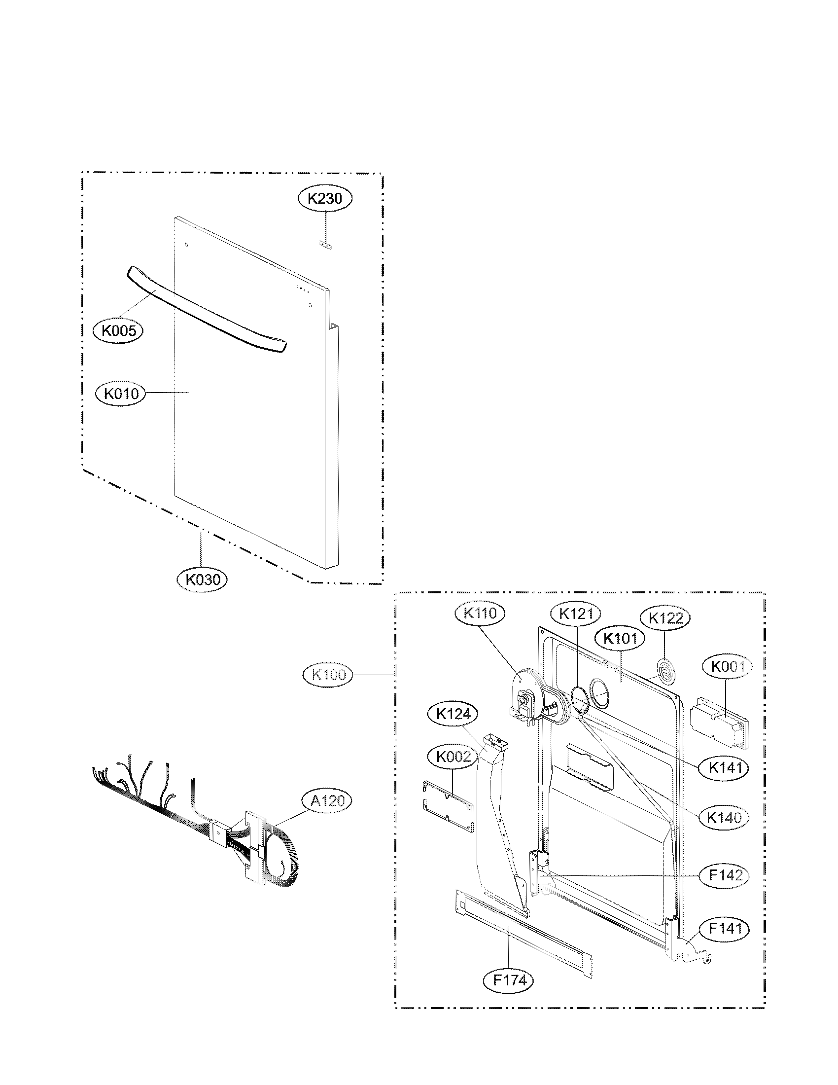 hight resolution of door assembly parts diagram parts list for model lg dishwasher installation lg dishwasher schematics