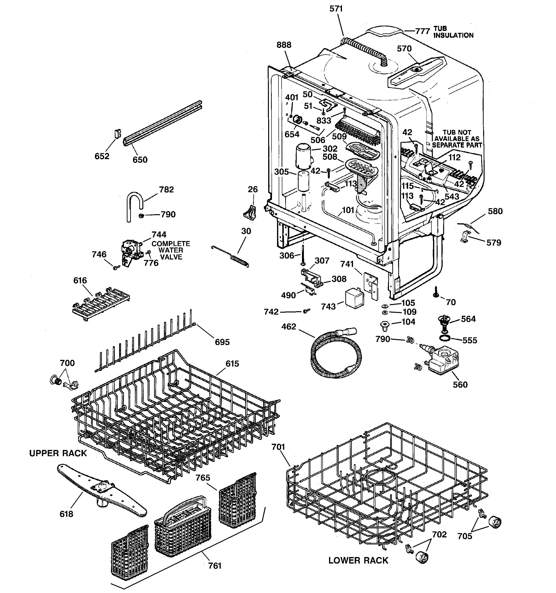 BODY PARTS Diagram & Parts List for Model GSD5500G00BB GE