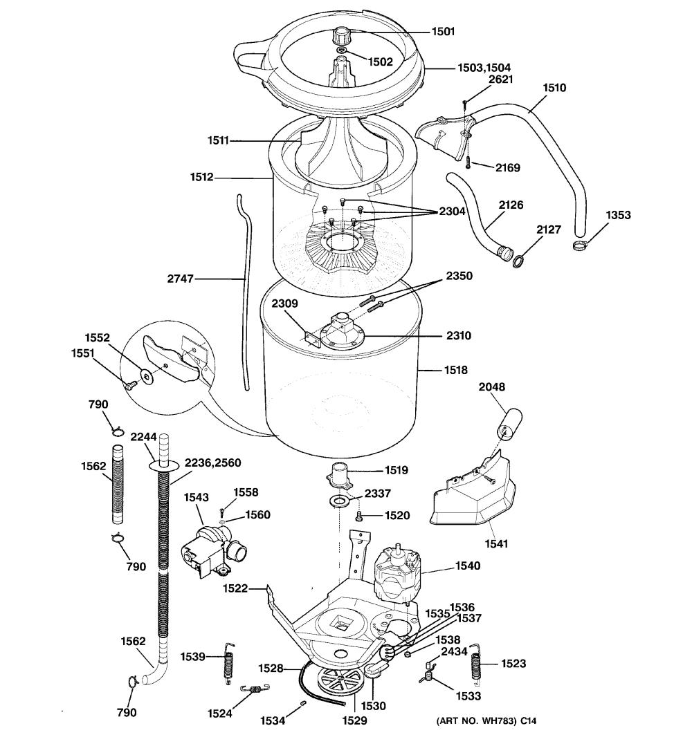 medium resolution of ge wsm2700wdwww washer motor tub diagram
