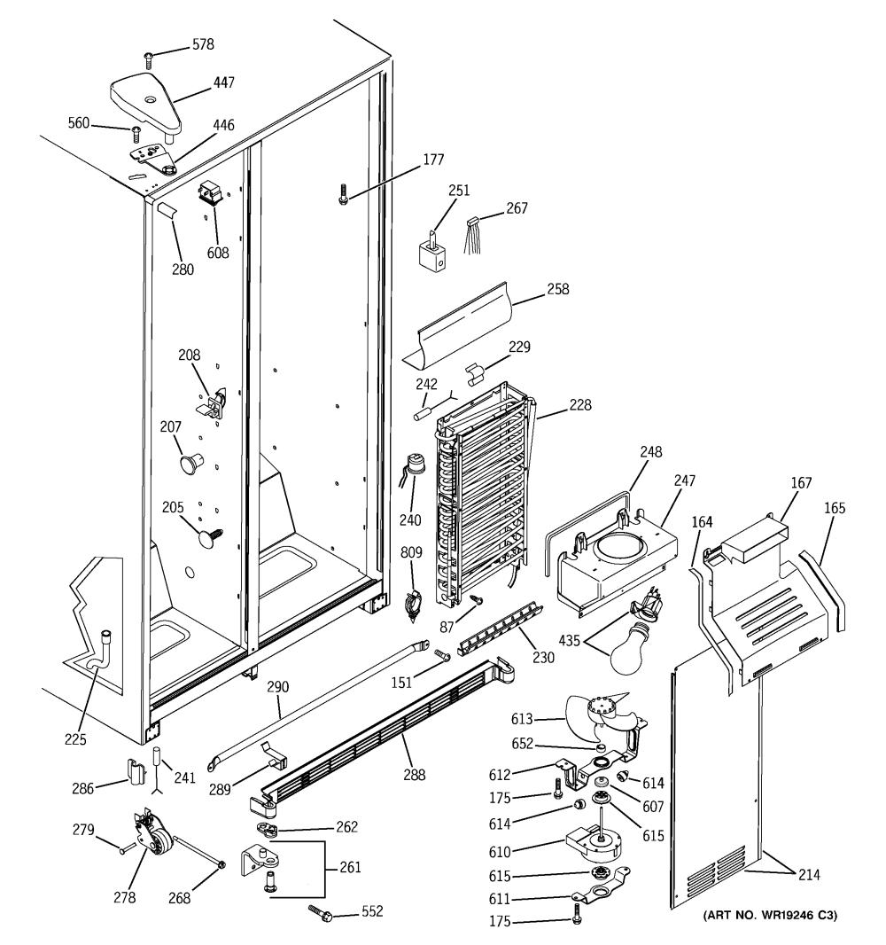 medium resolution of ge gss25qgpbcc freezer section diagram