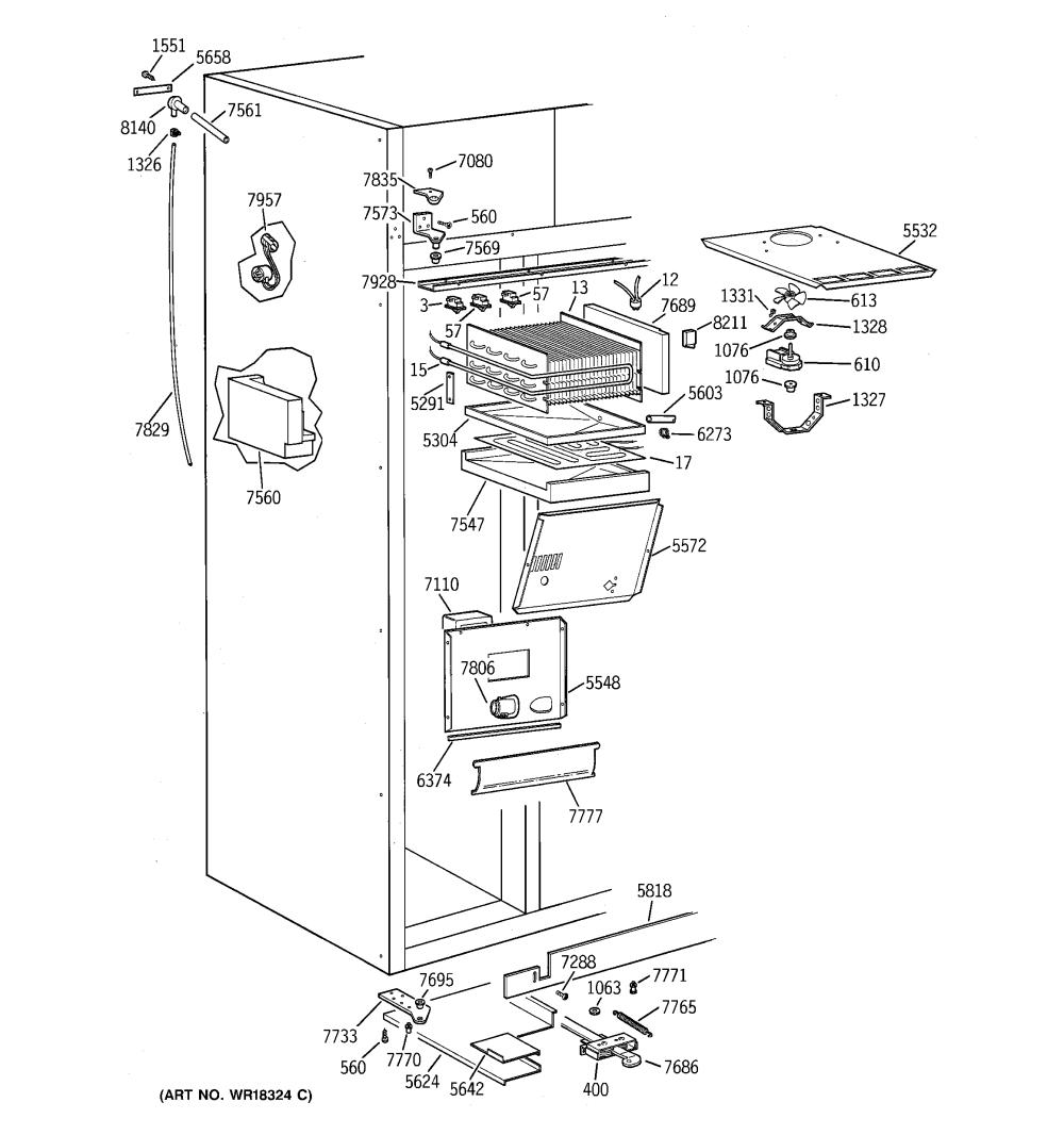medium resolution of ge zisb42dxa freezer section diagram
