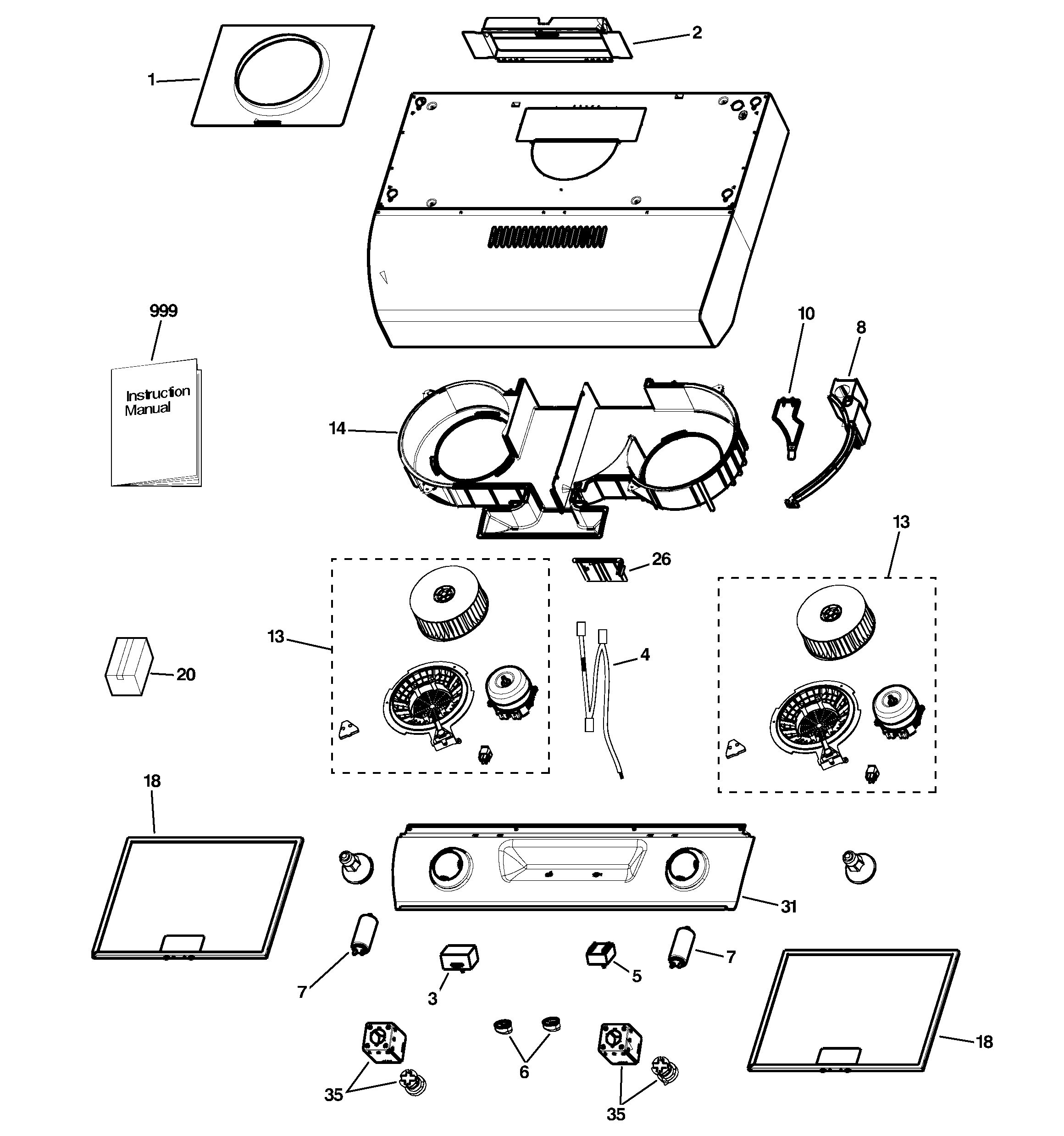 RANGE HOOD Diagram & Parts List for Model jv636h1ss GE