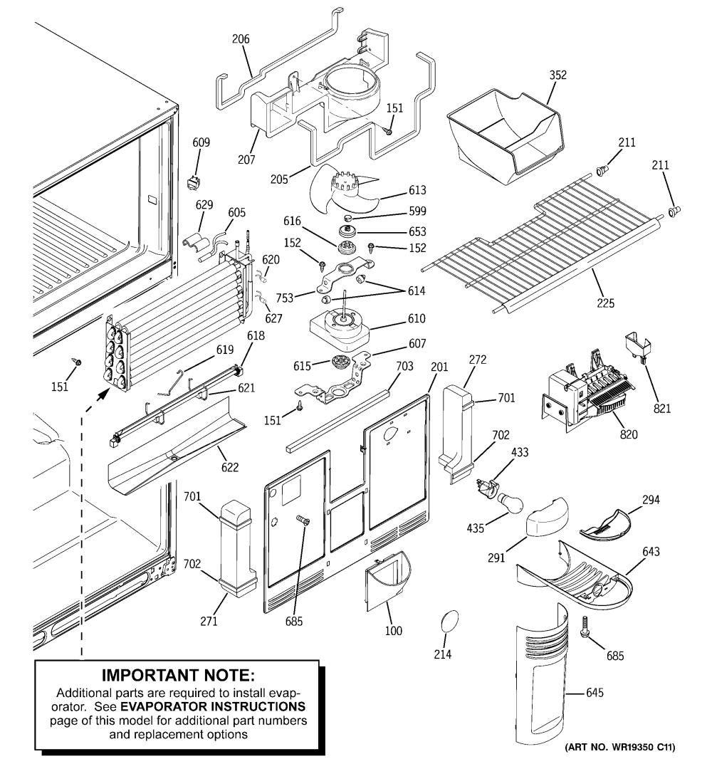 medium resolution of ge gts22kcpbrww freezer section diagram