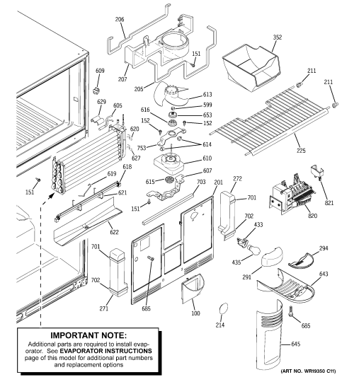 small resolution of ge gts22kcpbrww freezer section diagram
