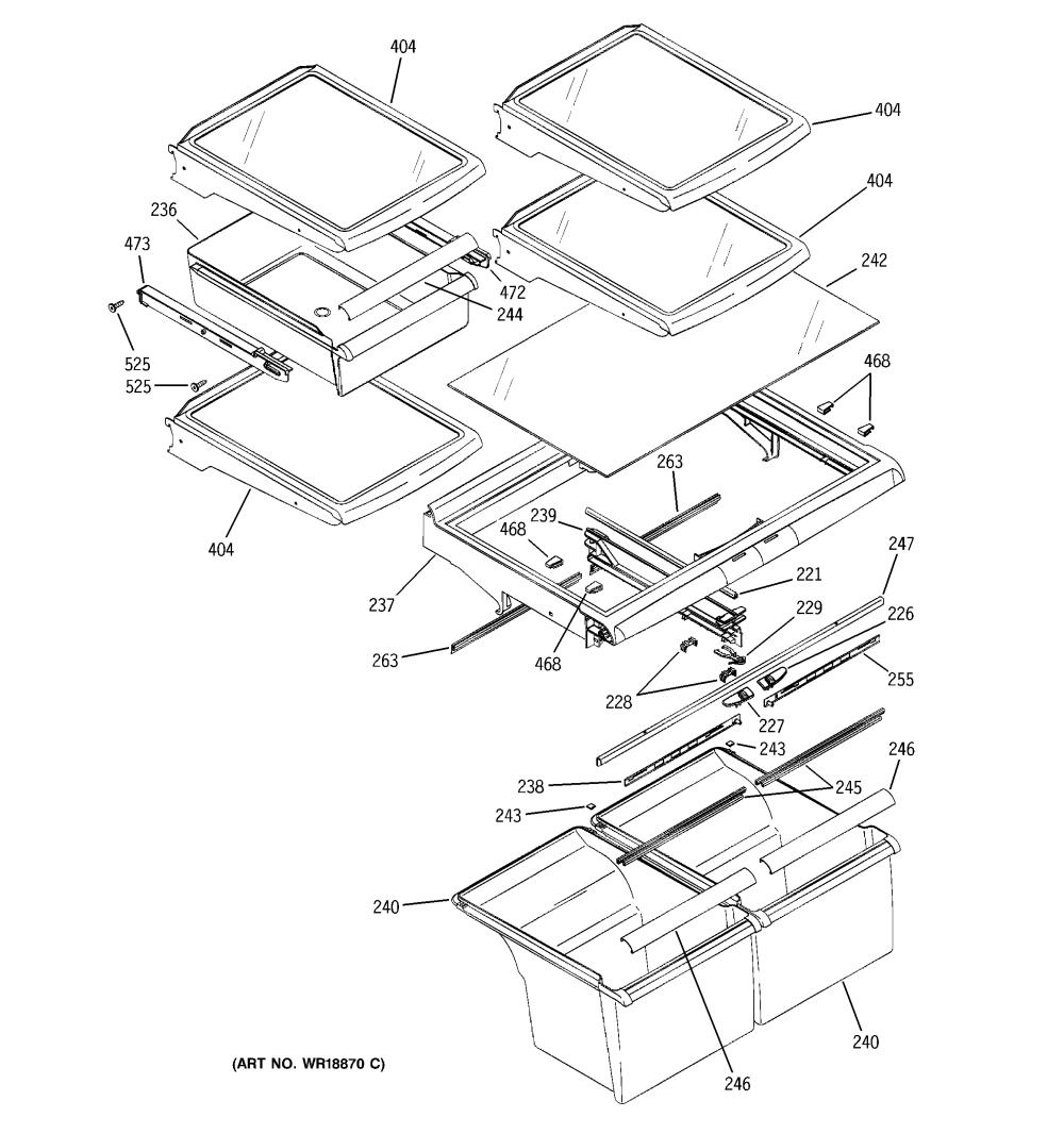 medium resolution of ge gts22kcpbrww fresh food shelves diagram