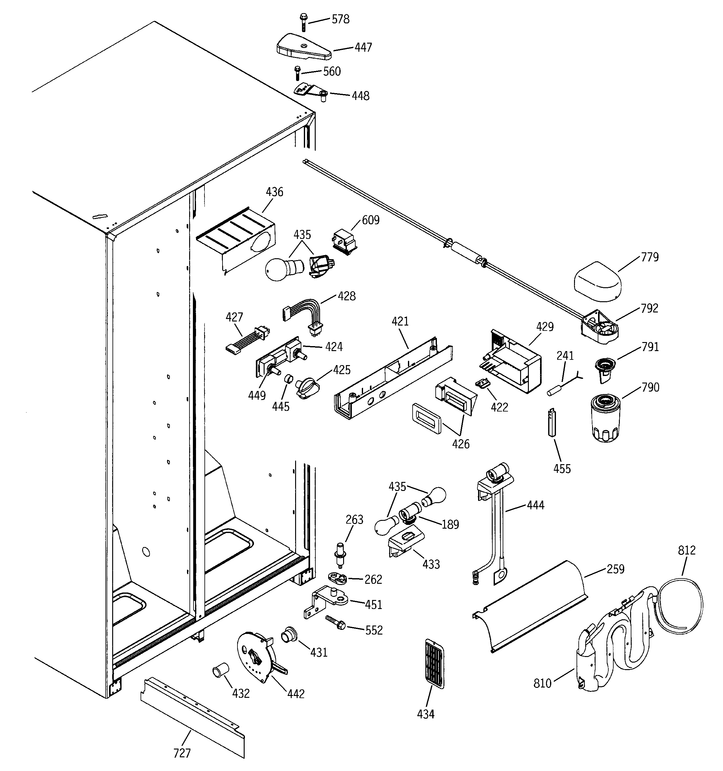 FRESH FOOD SECTION Diagram & Parts List for Model