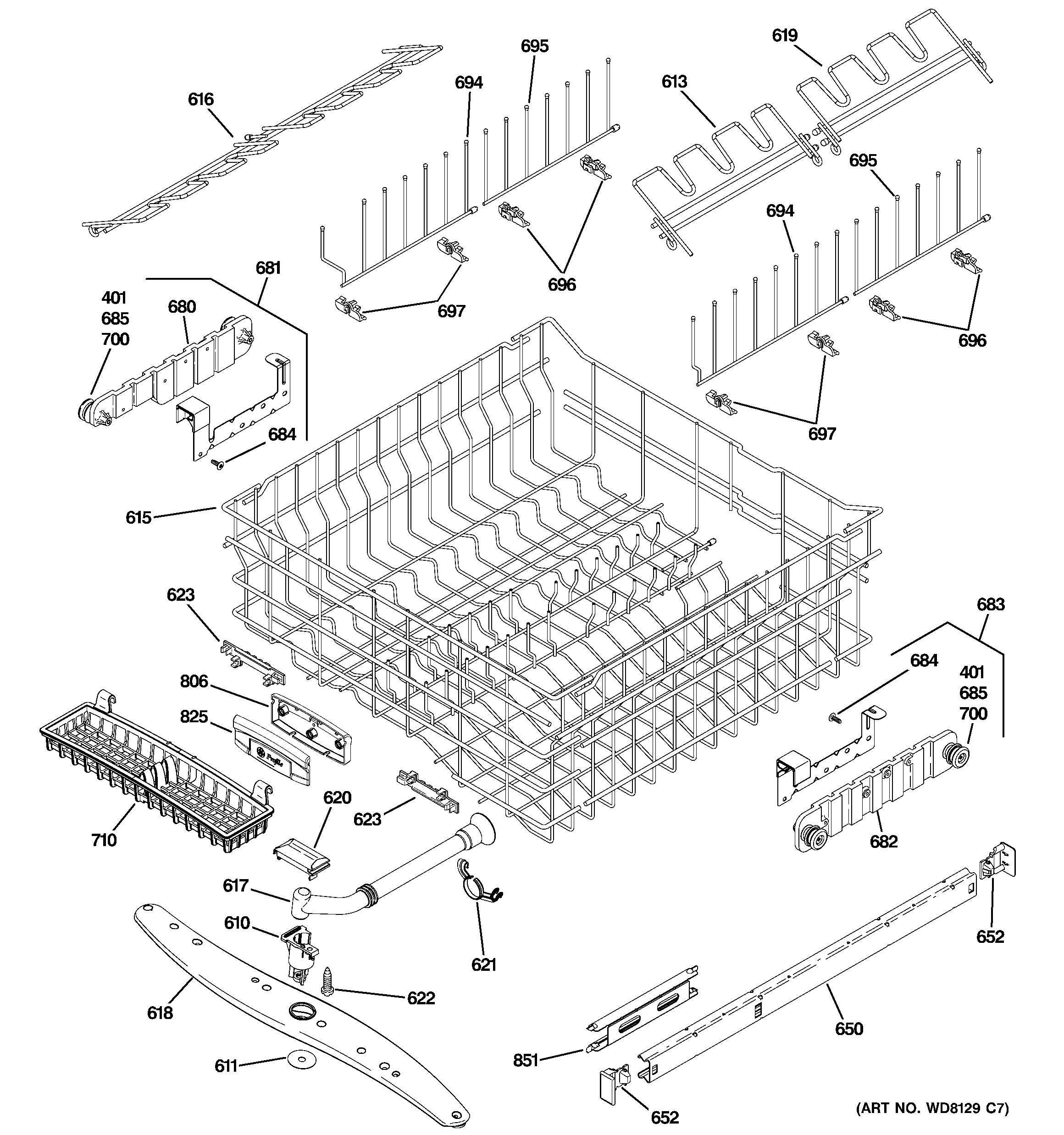 UPPER RACK ASSEMBLY Diagram & Parts List for Model