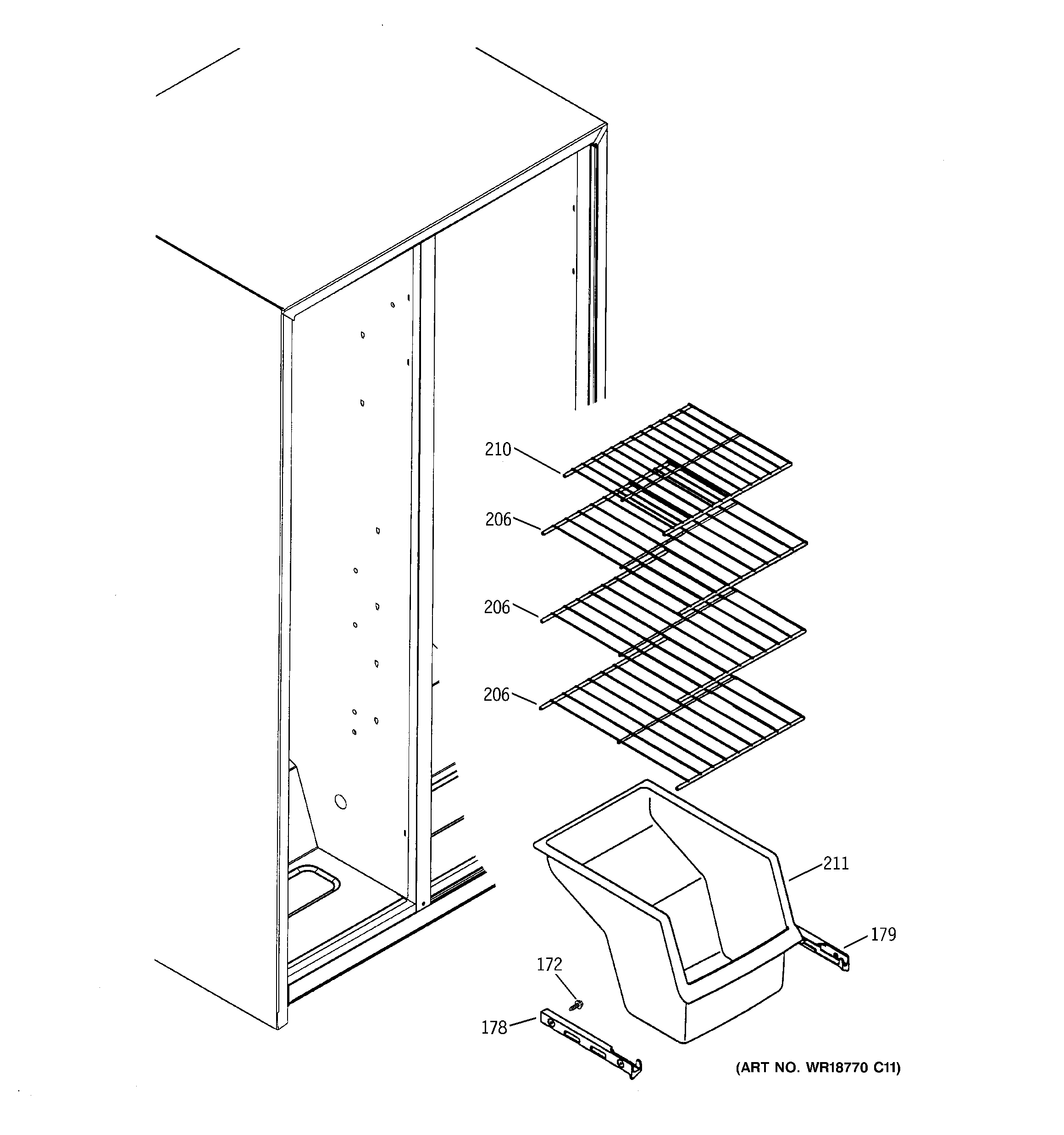 FREEZER SHELVES Diagram & Parts List for Model GSS22JETABB