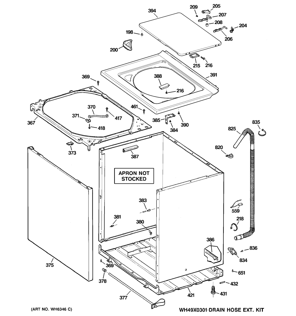 medium resolution of ge whdsr316g0ww cabinet cover front panel diagram