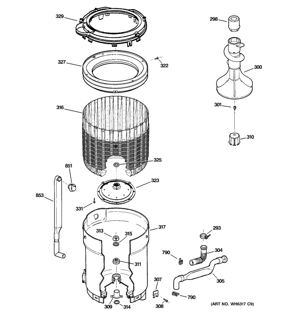 medium resolution of ge whdsr316g0ww tub basket agitator diagram