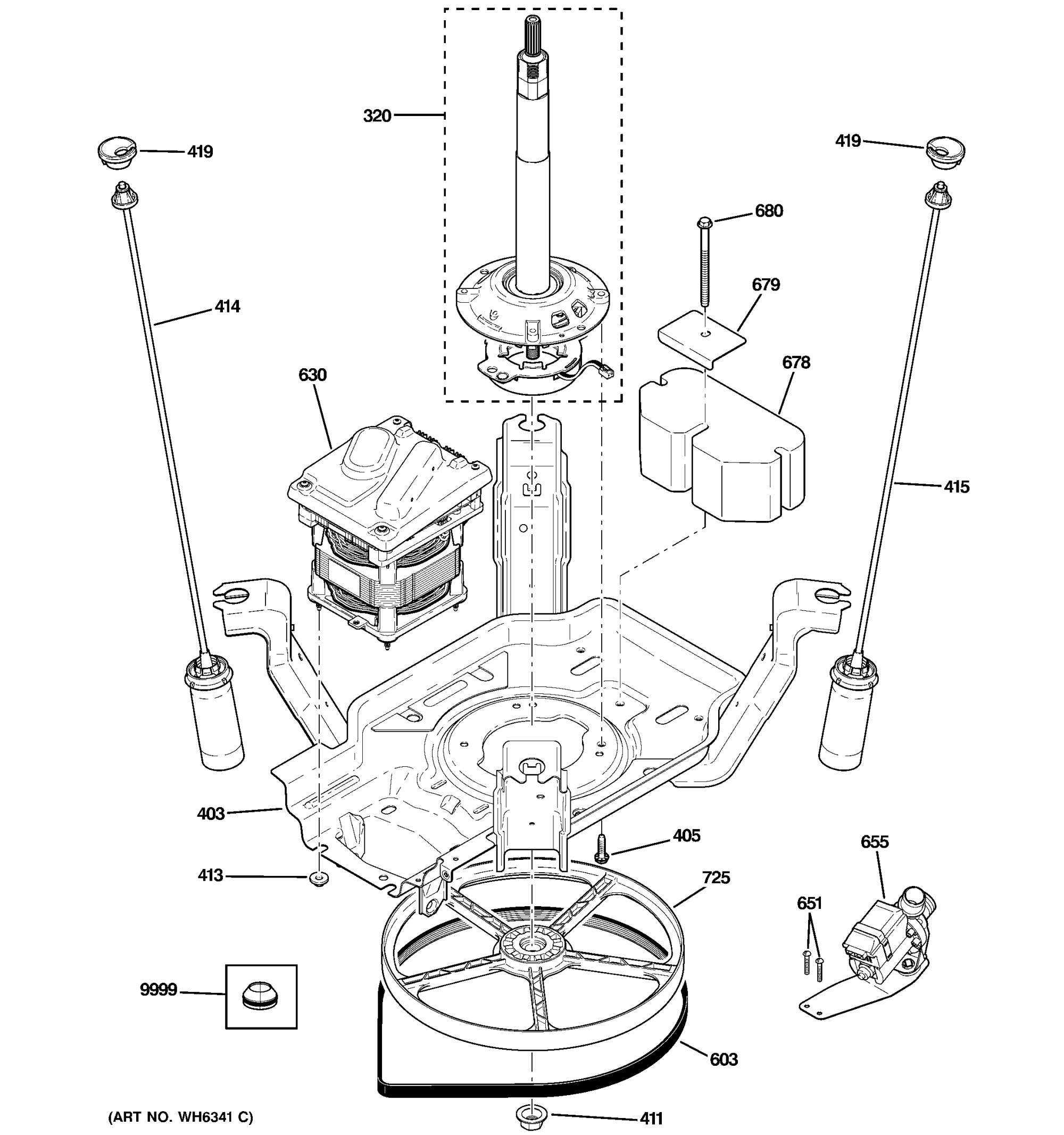 hight resolution of ge gwse5240h1ww suspension pump drive components diagram