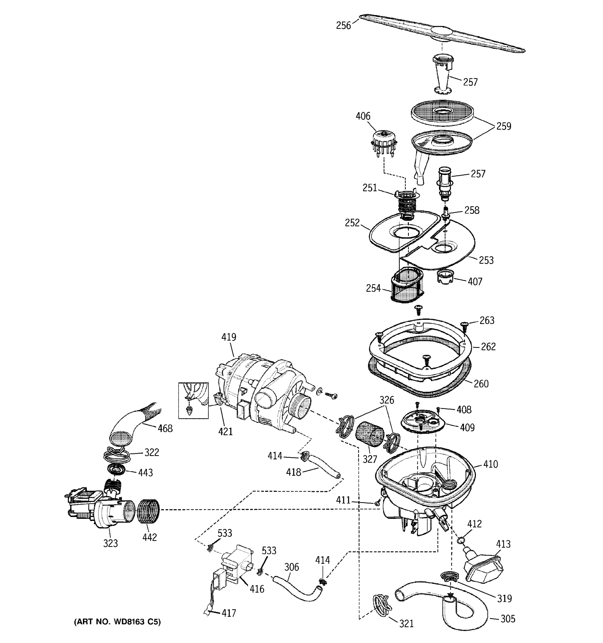 hight resolution of ge zbd7100g03ss sump assembly diagram
