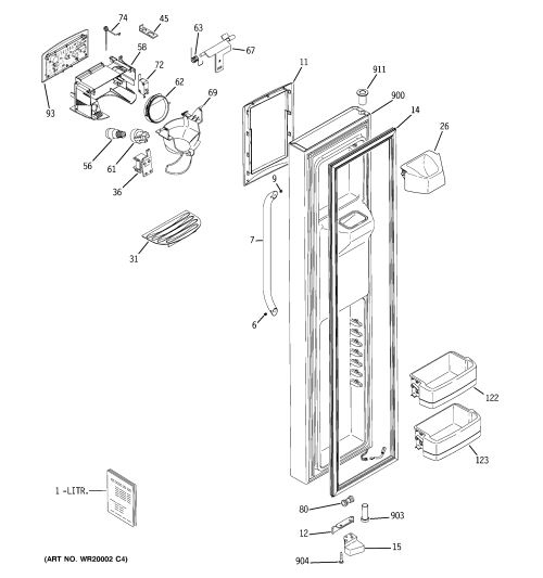 small resolution of ge gss25kswcss freezer door diagram
