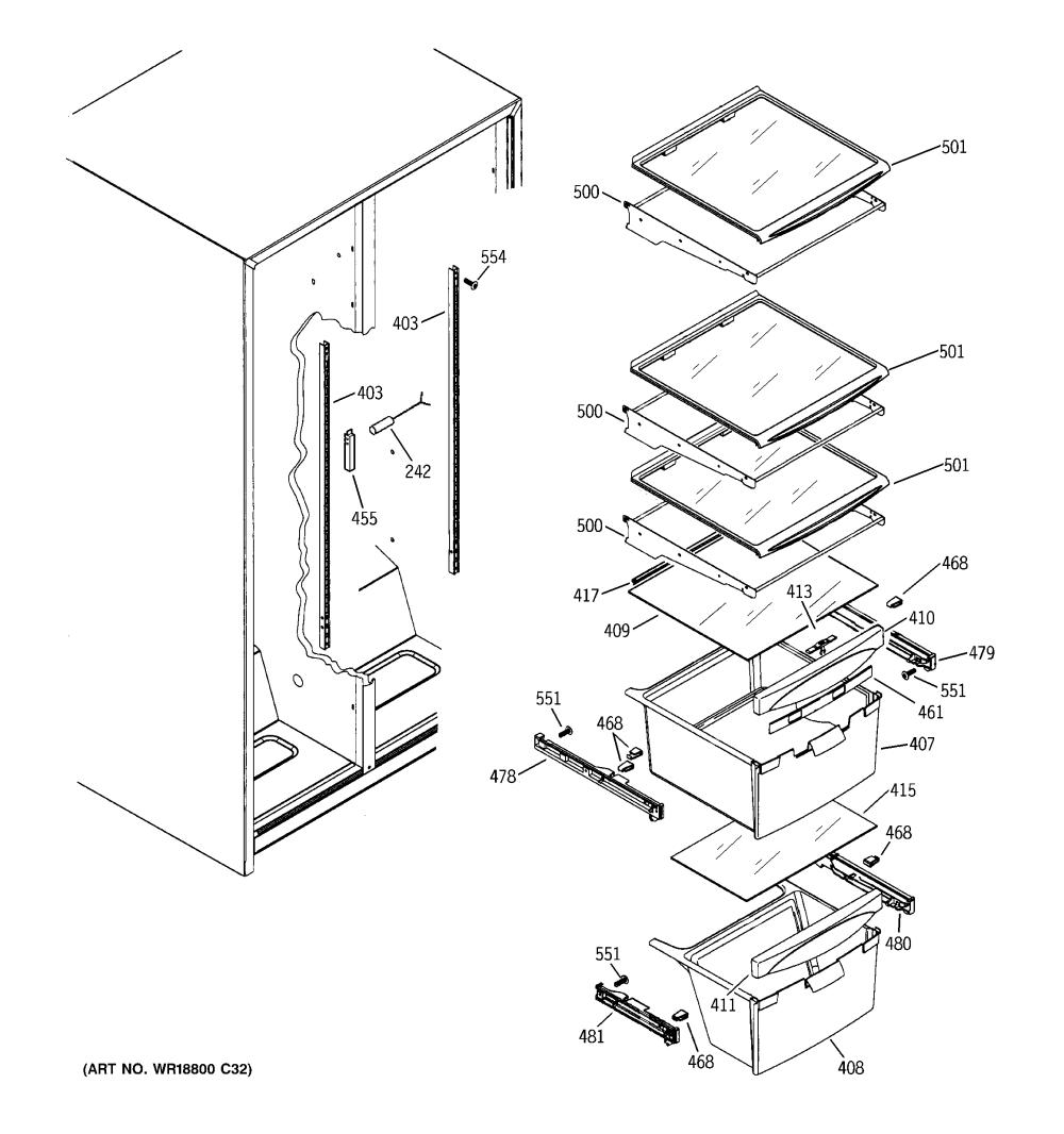medium resolution of ge gsh22jfxacc fresh food shelves diagram