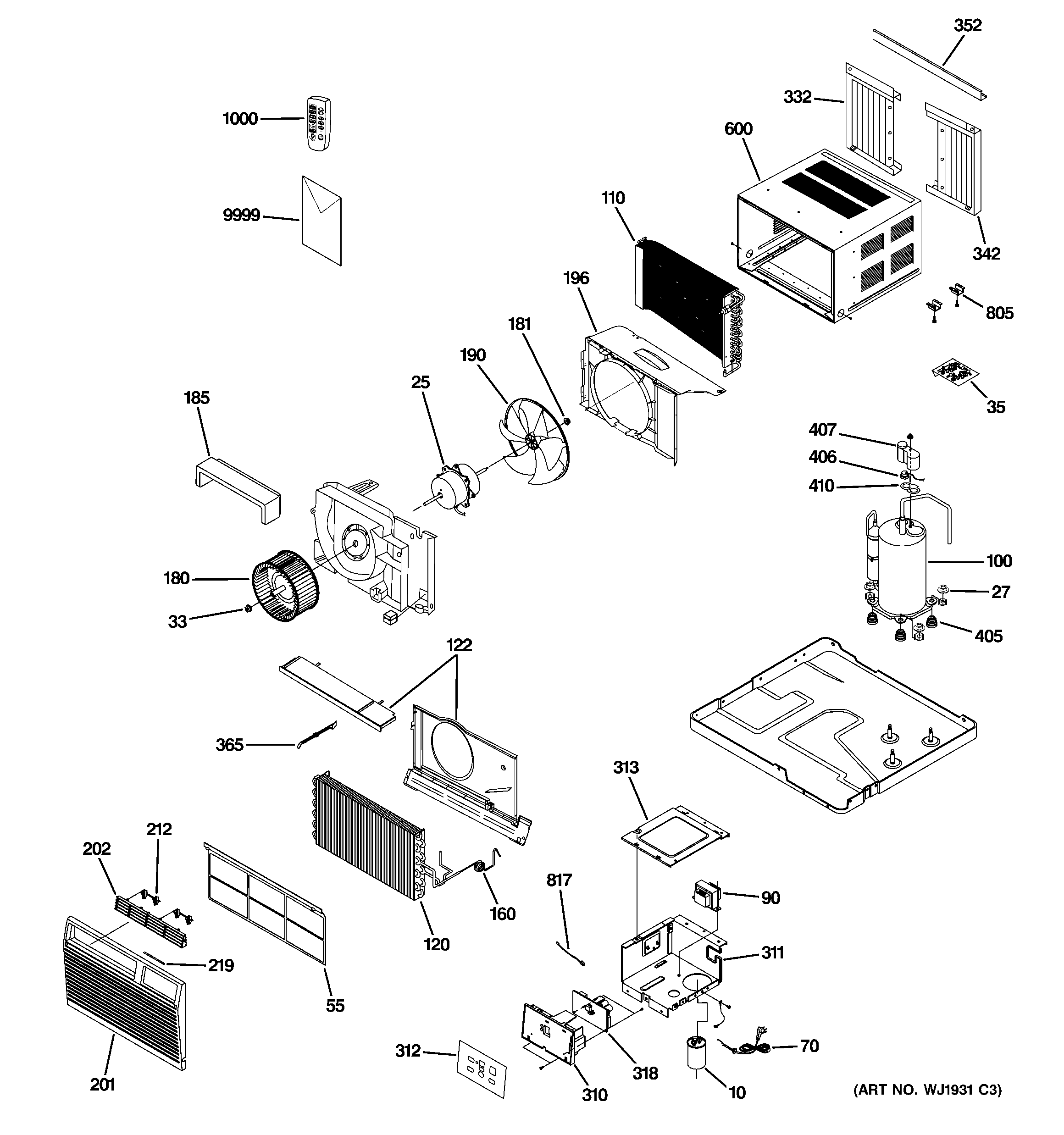 air conditioning components diagram 2000 gmc sierra 1500 headlight wiring ge room conditioner parts model asd06lls1 sears