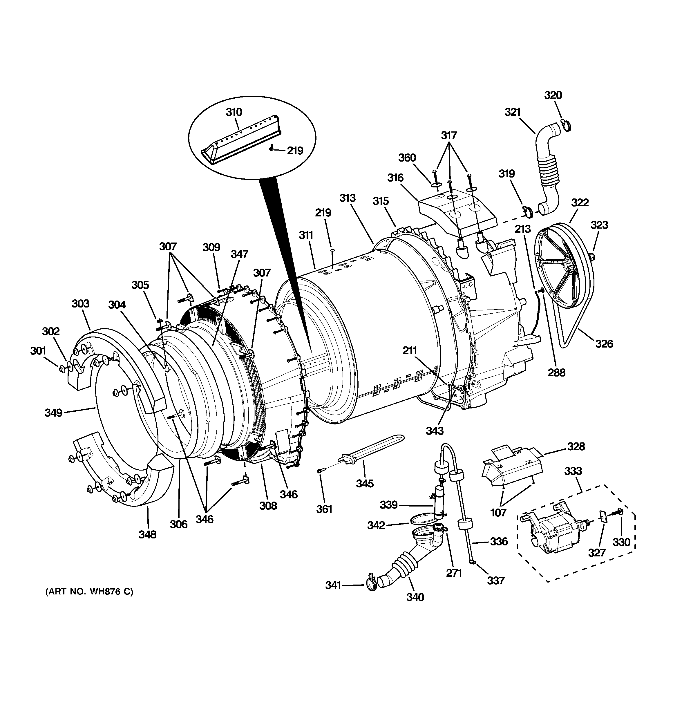 TUB & MOTOR Diagram & Parts List for Model wcvh6800j1ww GE