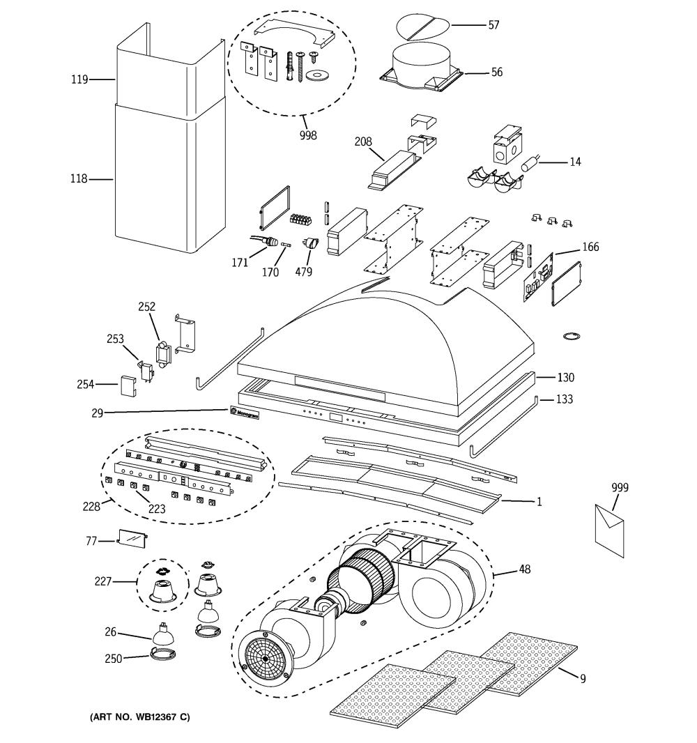 medium resolution of ge zv950sd2ss range hood diagram