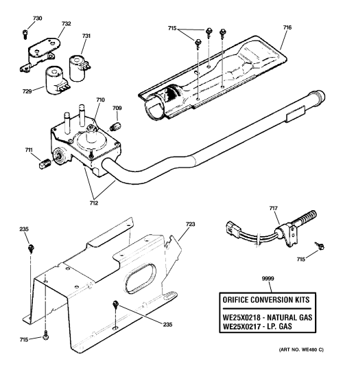 small resolution of ge gfdn110gl0ww gas valve burner assembly diagram