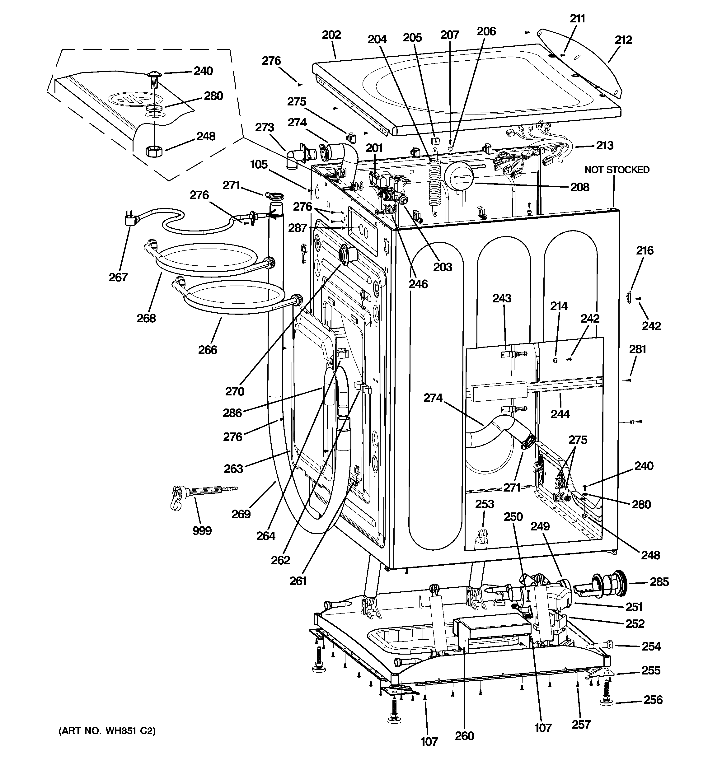 complete parts diagram e46 7 way wiring trailer ge model wcvh6400j0ww residential washers genuine