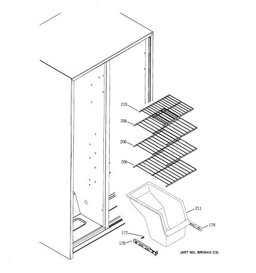 small resolution of ge gsh25iszbss freezer shelves diagram