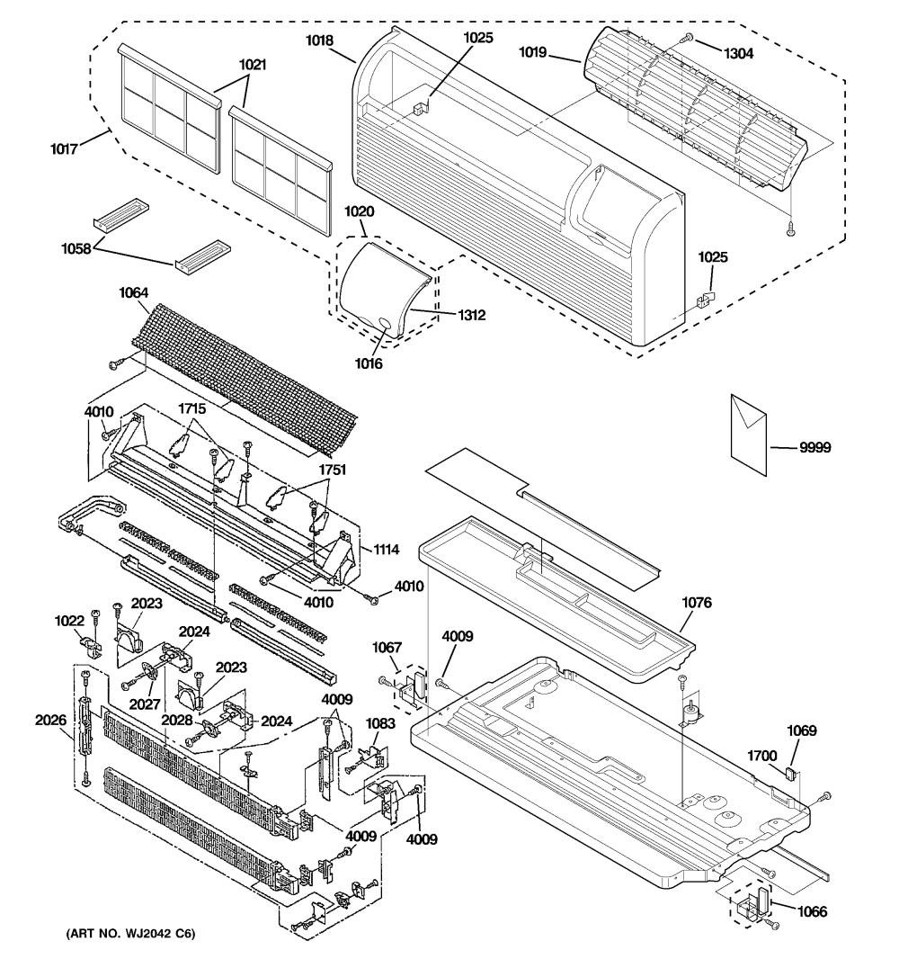 medium resolution of ge az41e12eabw2 grille heater base pan parts diagram