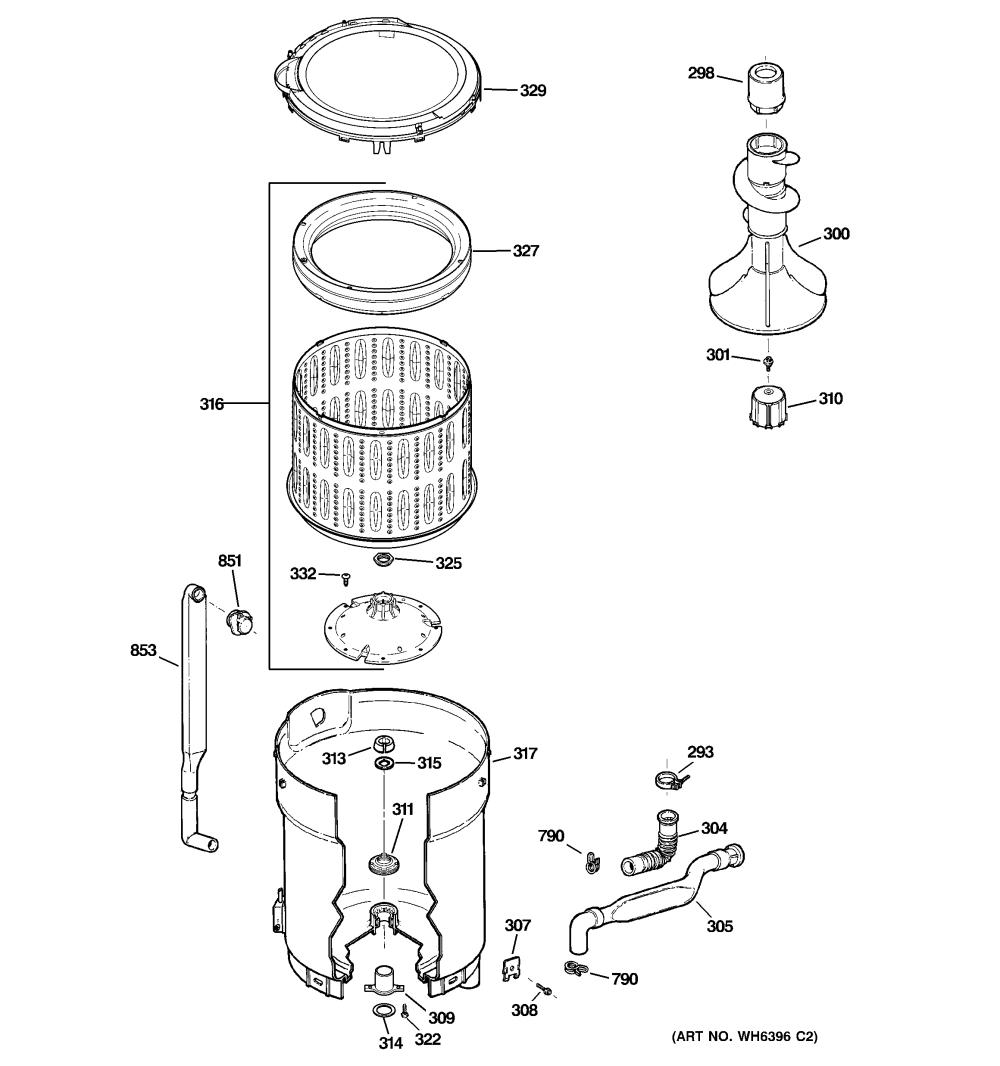 medium resolution of ge ghwn5250d0ws tub basket agitator diagram