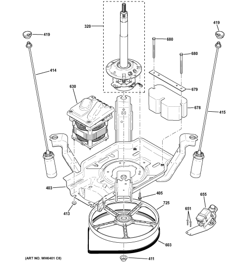 small resolution of ge gtwn4250d1ws suspension pump drive components diagram